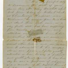 Letter from Richmond lady describing Confederate soldier's death