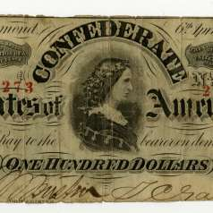 Confederate $100 Bill with image of Lucy Pickens