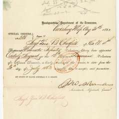 Special Order No. 238 issued by Gen. Ulysses S. Grant appointing a sergeant in Louisiana Volunteers of African Descent