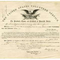 President Lincoln's Thanks and Certificate of Honorable Service