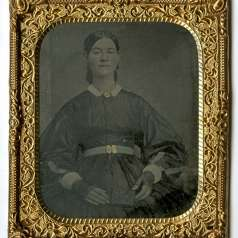 Tintype of Jane McKinney in mourning dress