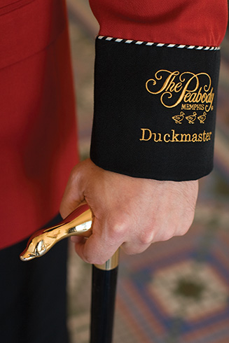 The details of The Peabody Memphis Duckmaster's coat.