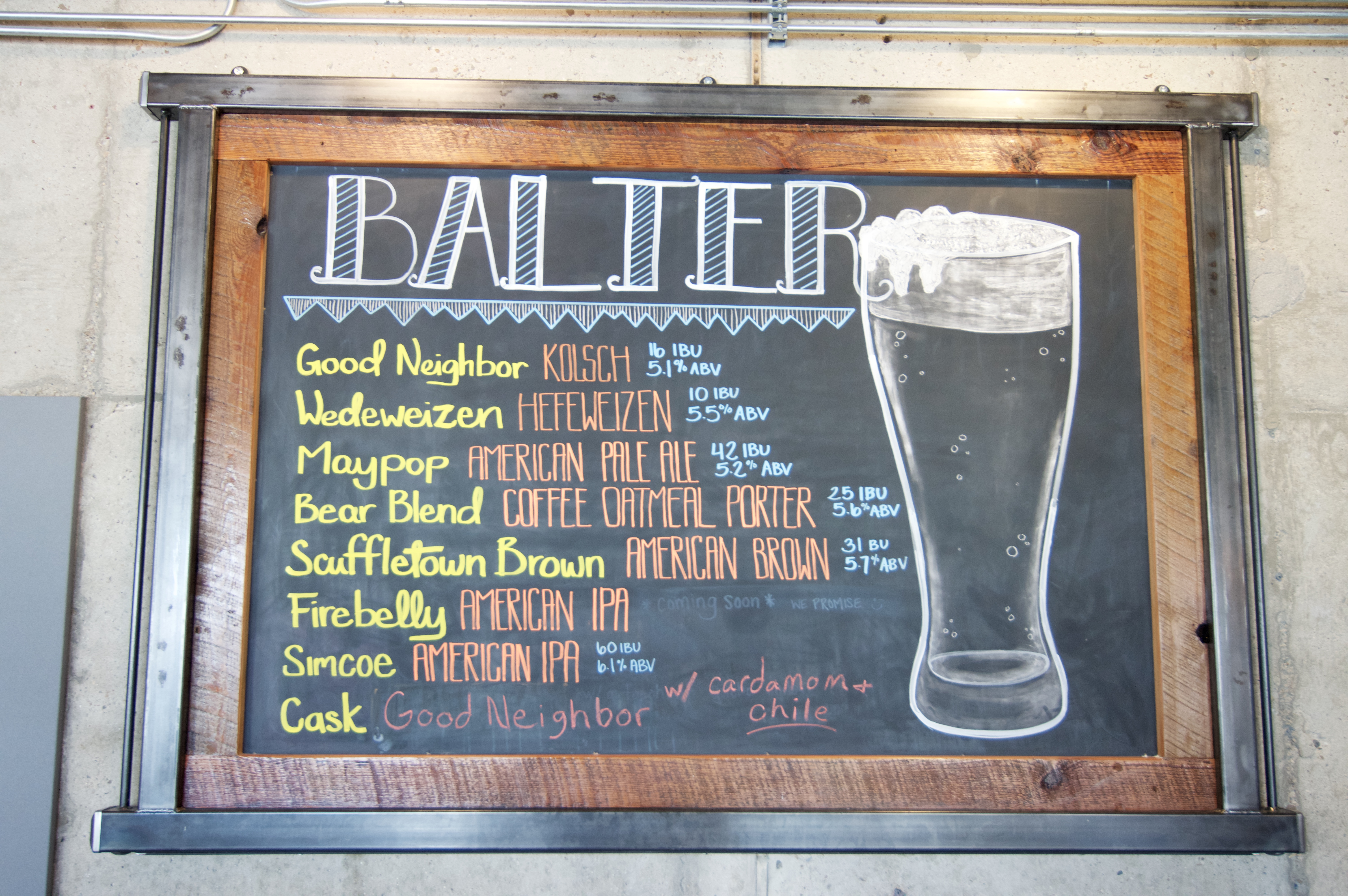 Balter Beerworks menu, Knoxville