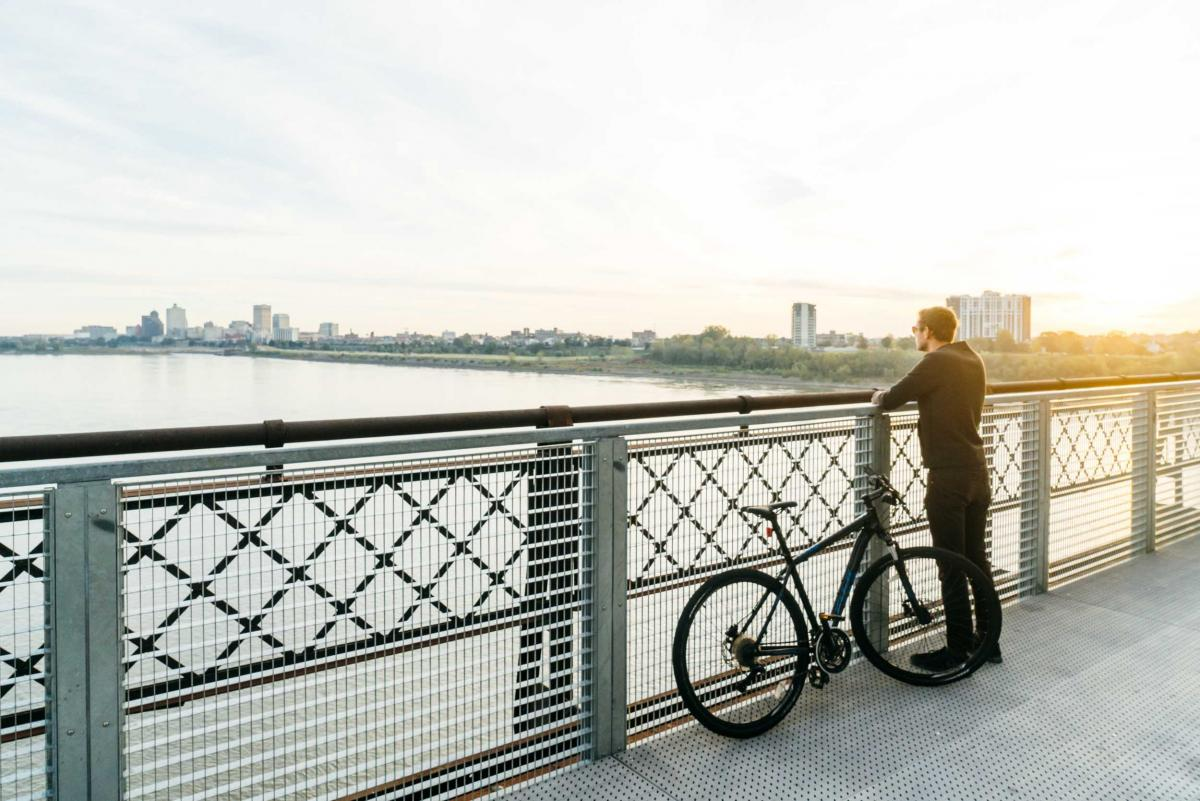 Take a bike ride across the Mississippi River along Big River Crossing in Memphis