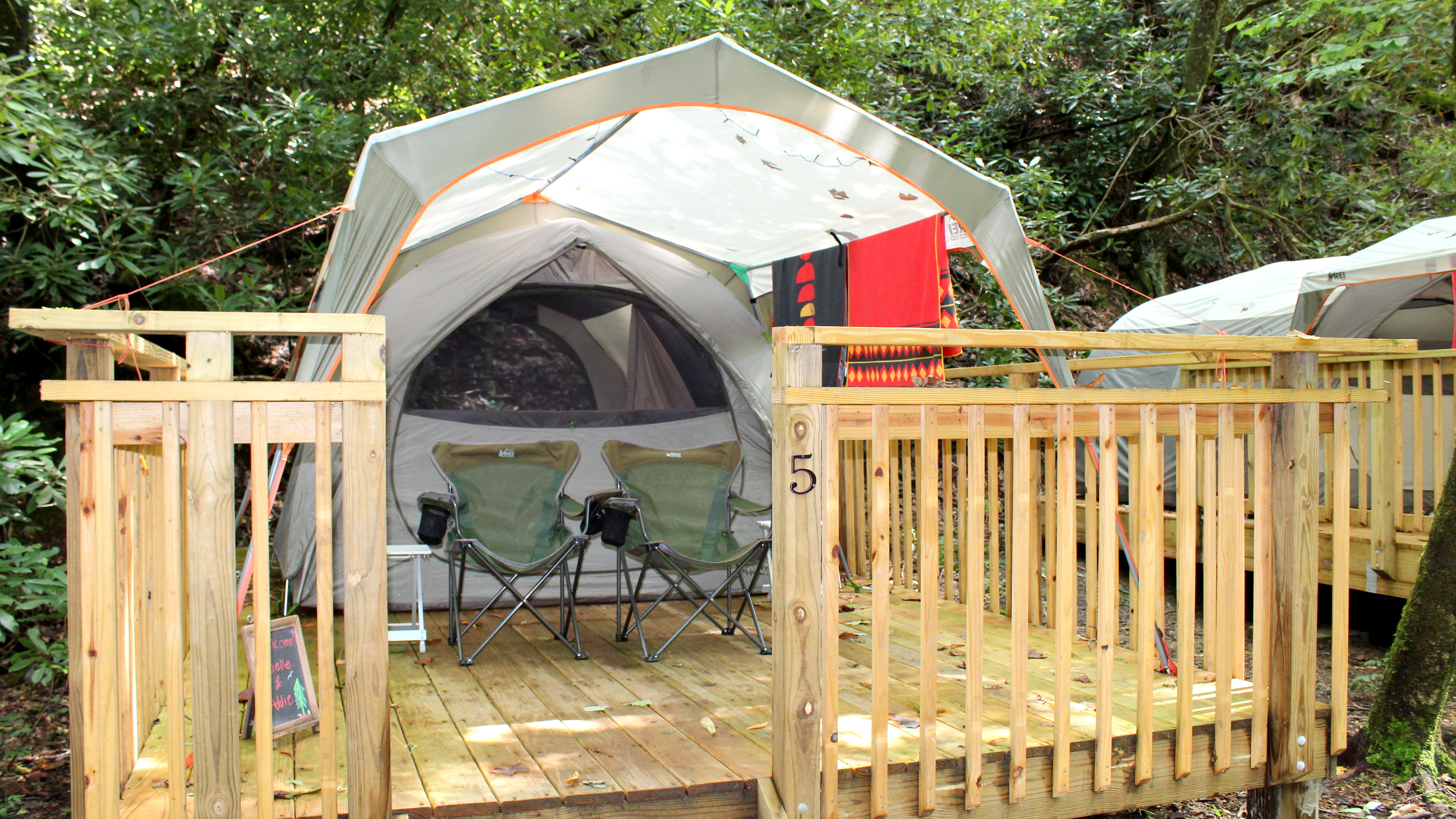 Pitch a tent in the wilderness with A Walk in the Woods' Camp Atagahi.