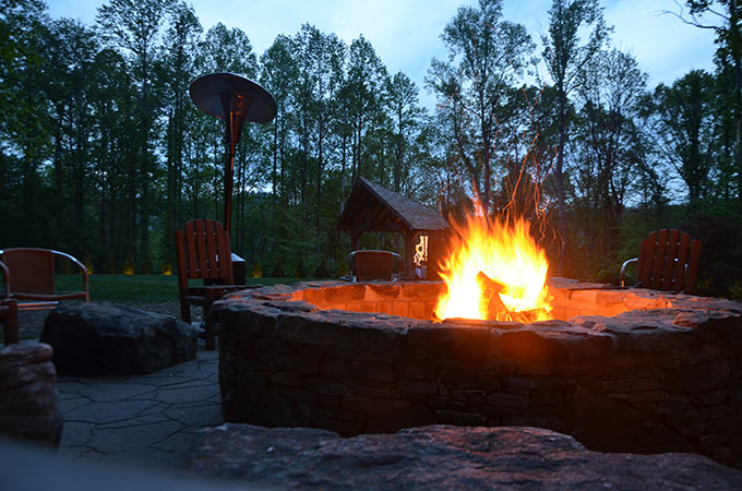 Warm up with a fire at Dancing Bear Lodge