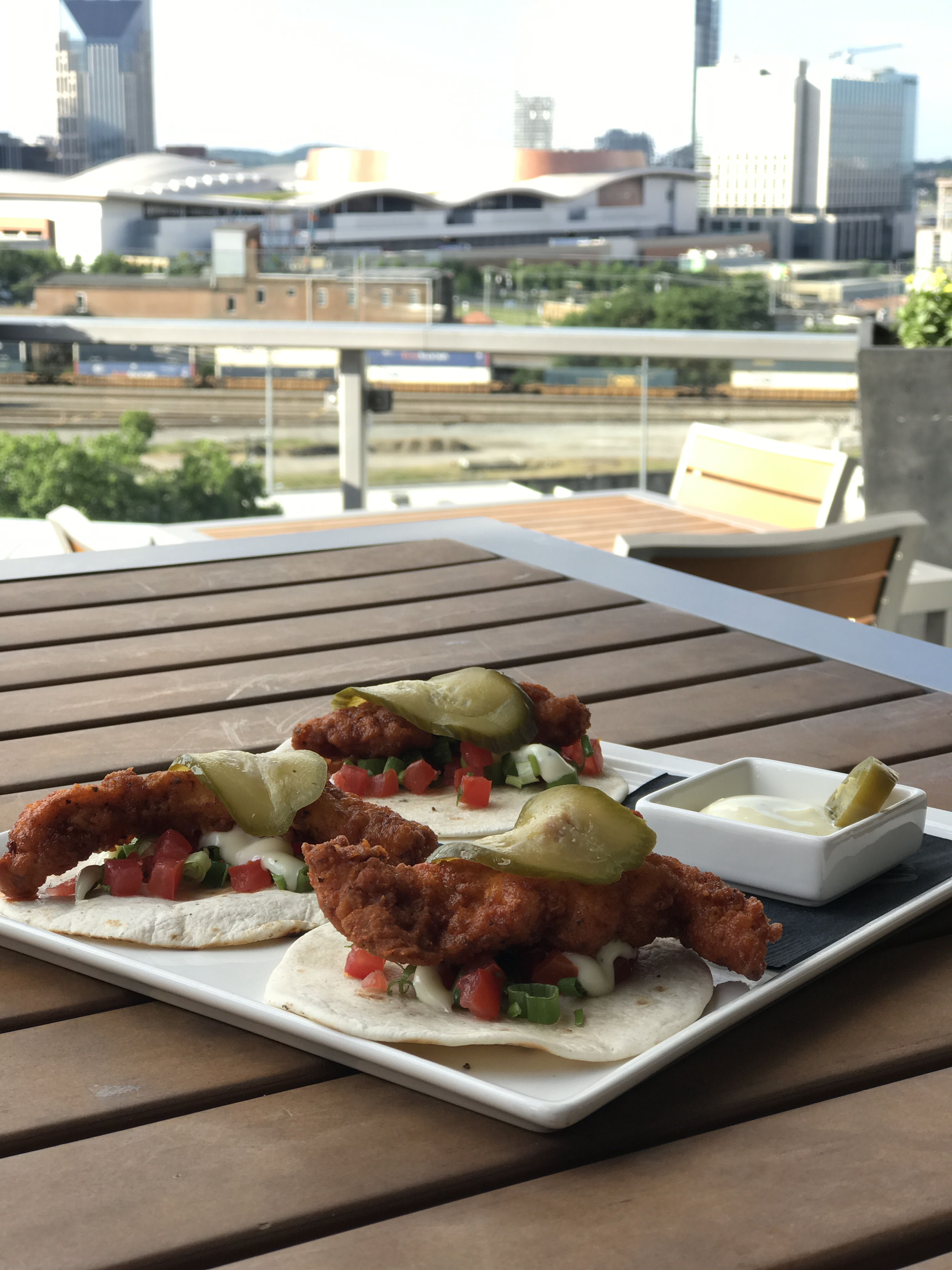 Hot Chicken Tacos at Up, a rooftop lounge