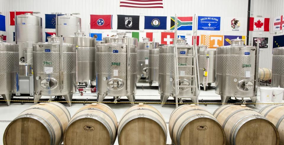 Barrels and wine vats from DelMonaco Winery in Baxter, Tennessee