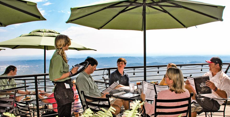 Outdoor diners at Cafe 7 at Rock City Gardens