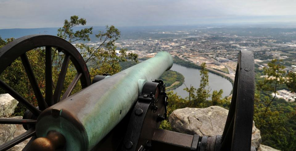 A cannon in Point Park, overlooking Chattanooga, TN