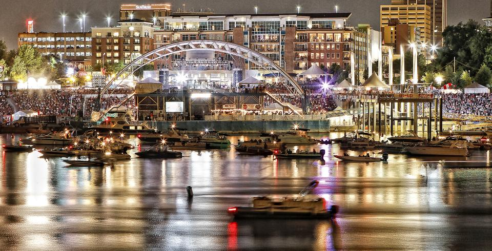 A nighttime shot of Chattanooga during Riverbend Festival