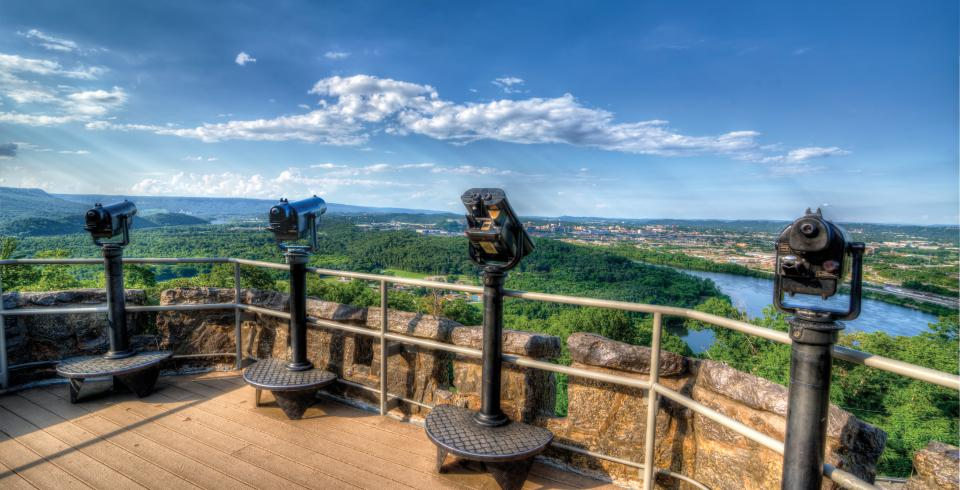 Viewfinders atop the Ruby Falls scenic tower