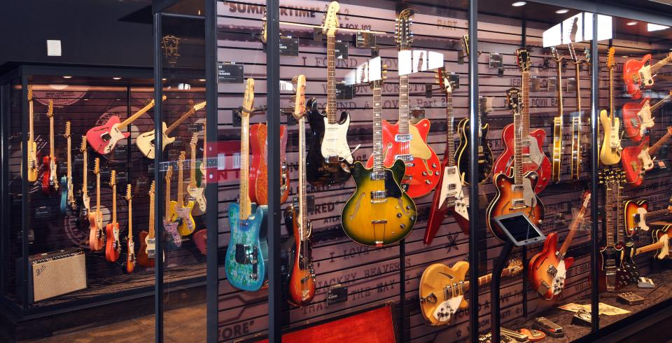 Guitars on display at Songbirds Guitar Museum in Chattanooga, TN