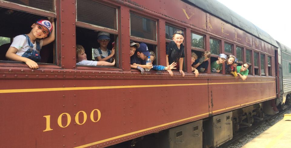 Kids on a train at the Tennessee Valley Railroad Museum in Chattanooga