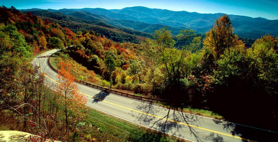 A winding road along the Cherohala Skyway