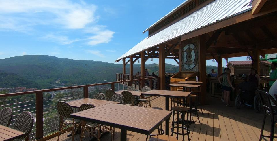The patio seating at Cliff Top Grill & Bar in Gatlinburg