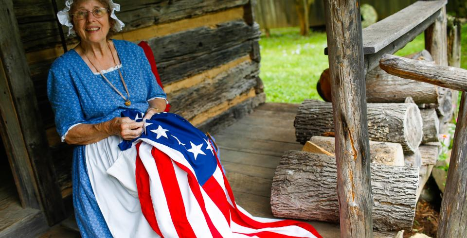Historian playing Betsy Ross at Museum of Appalachia in Clinton, TN