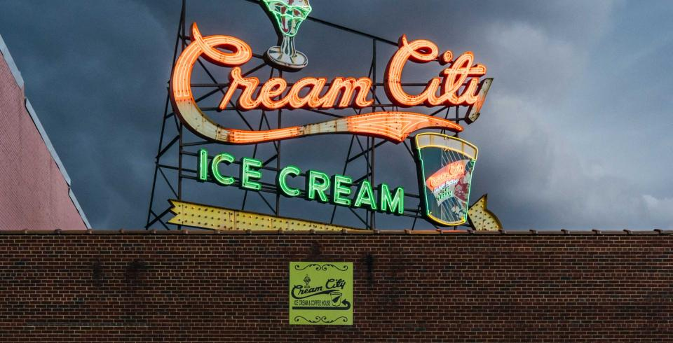 Cream City Ice Cream sign lit up at night in downtown Cookeville TN