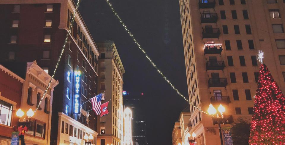 Christmas lights in downtown Knoxville