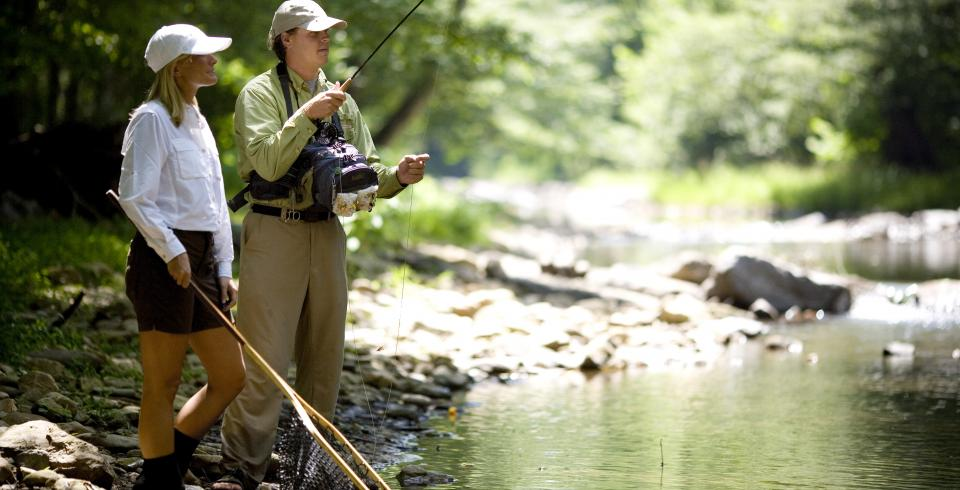 Fly fishing at Blackberry Farm in Walland, Tennessee