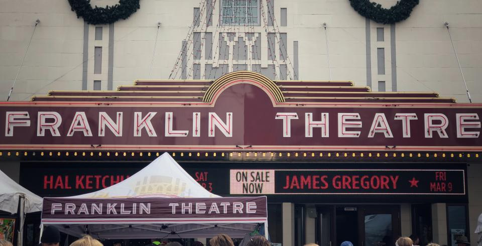 Franklin Theatre exterior decorated for Christmas in Franklin, TN