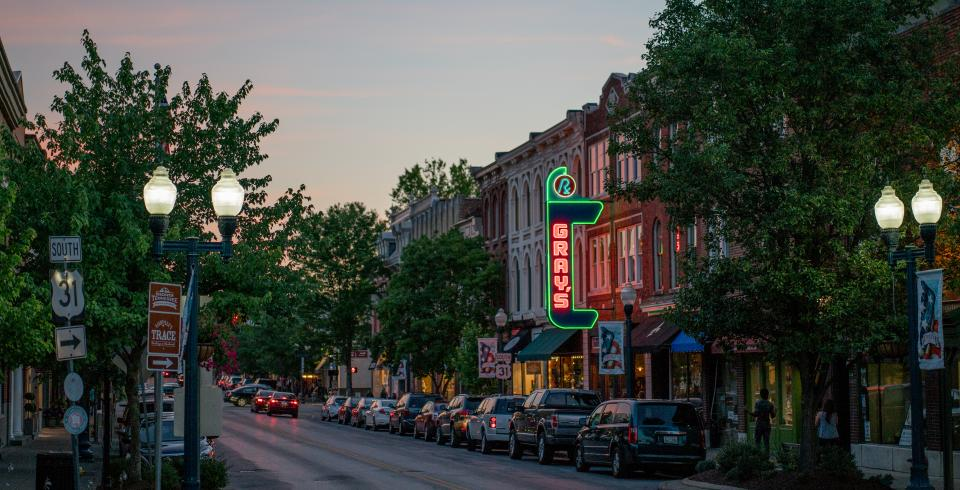 Franklin, Tennessee's downtown Main Street at dusk
