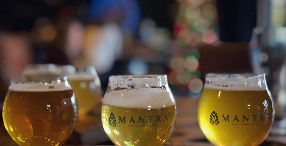A lineup of brews at Mantra Artisan Ales in Franklin, TN