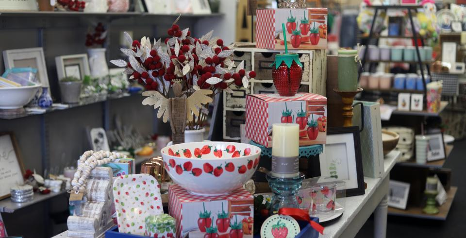 Strawberry decor for sale at City Gift Company in Humboldt, TN