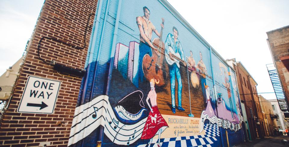 Mural of music greats in Jackson, Tennessee