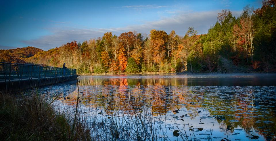 Lake and fall trees at Bays Mountain Park