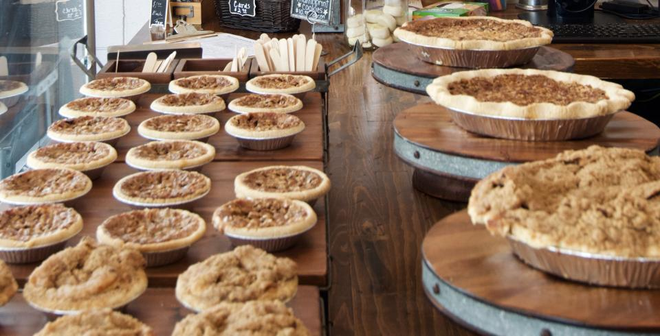 Pies on display from Buttermilk Sky Pie Shop in Knoxville