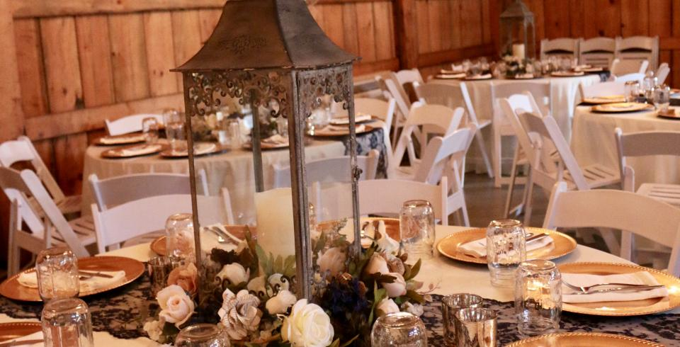 Decor options at Happily Ever After at the Barn in Kodak, TN