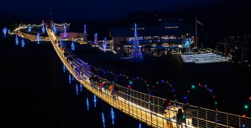 The Skybridge in Gatlinburg decorated in Christmas lights