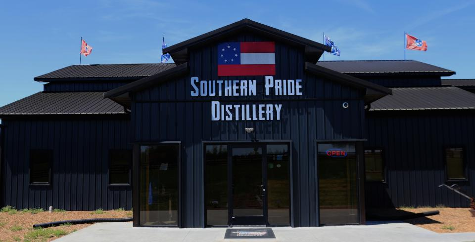 The exterior of Southern Pride Distillery in Fayetteville