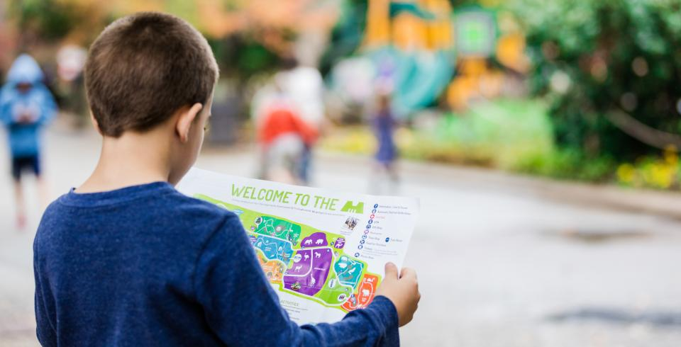 A child looks at a Memphis Zoo map