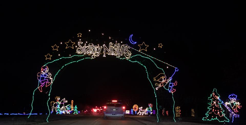 Light displays for Starry Night at Shelby Farms Park in Memphis.