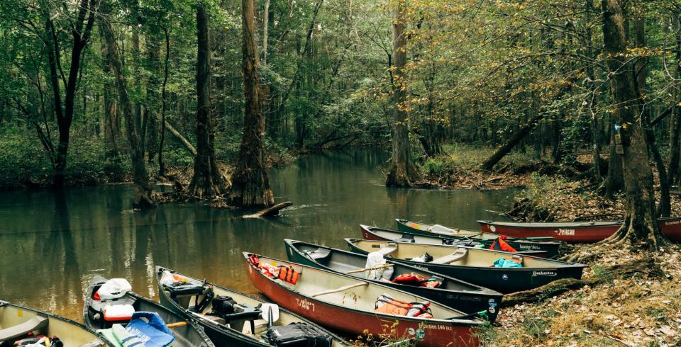 Canoes lined up on the Ghost section of the Wolf River
