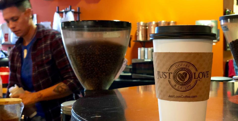 Hot coffee at Just Love Coffee in Murfreesboro, Tennessee.