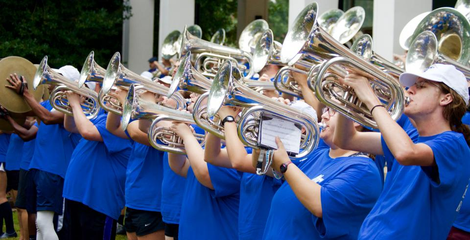 MTSU band plays during Raider Walk and Tailgate  in Murfreesboro, Tennessee.