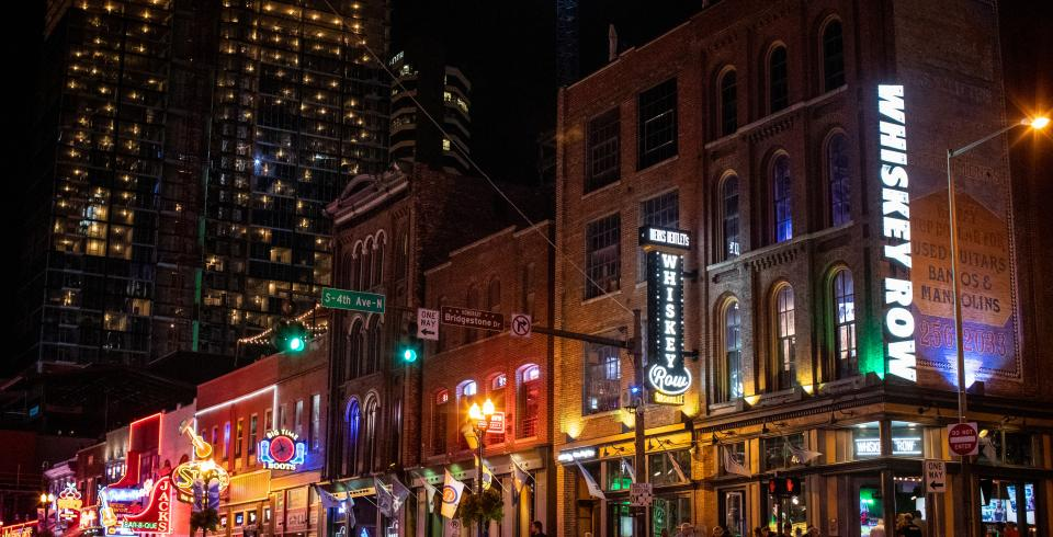 Lower Broadway in downtown Nashville