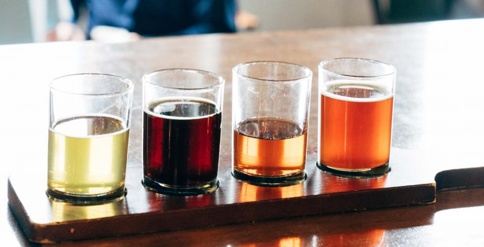 A flight of brews at Jackalope Brewing in downtown Nashville
