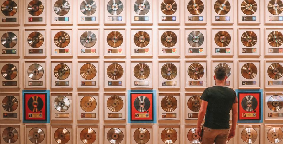 Wall of records at Country Music Hall of Fame & Museum in Nashville