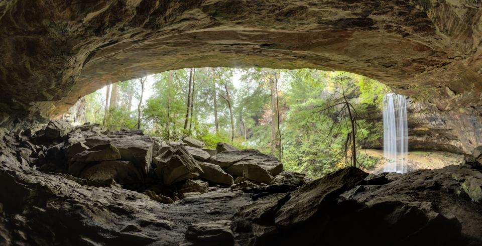 A cavernous view of Northrup Falls