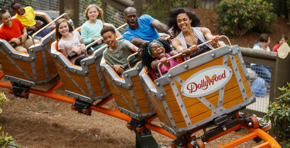 Rollercoaster riders at Dollywood