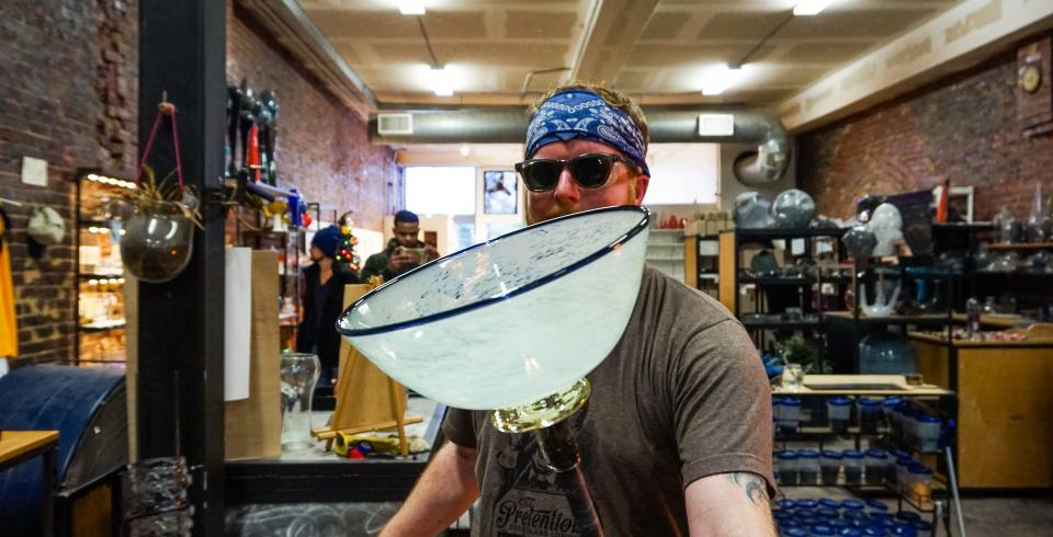 A glass bowl being made at Pretentious Glass Co.
