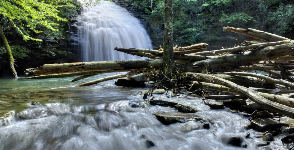 Stinging Fork Falls roars into smaller cascades