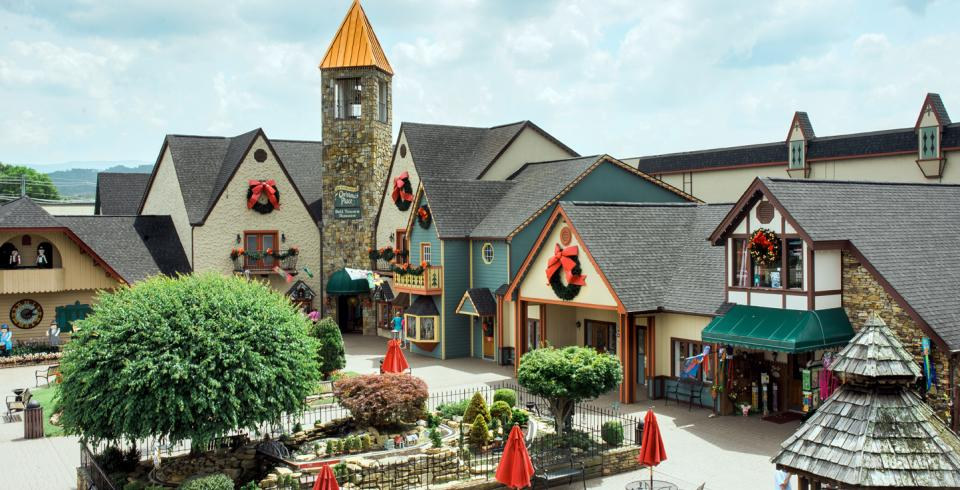 The shops with Christmas wreaths at The Incredible Christmas Place in Pigeon Forge.