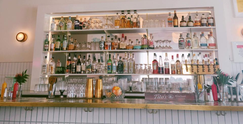 The bar area of the Liquor Store restaurant in Memphis, TN