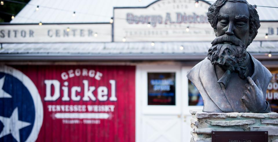 George Dickel statue in front of the distillery in Tullahoma