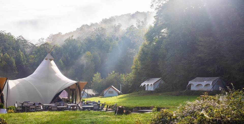 Glamping tents at Under Canvas in Pigeon Forge, Tennessee